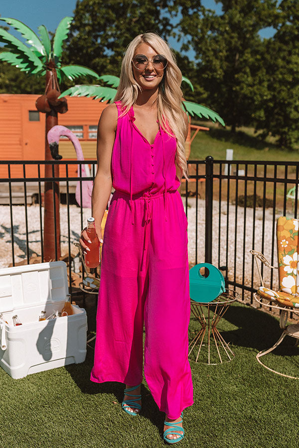 Gelato And Kisses Jumpsuit In Hot Pink
