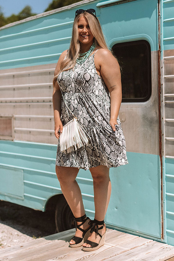 Cruising Down Sunset Snake Print Dress in Grey