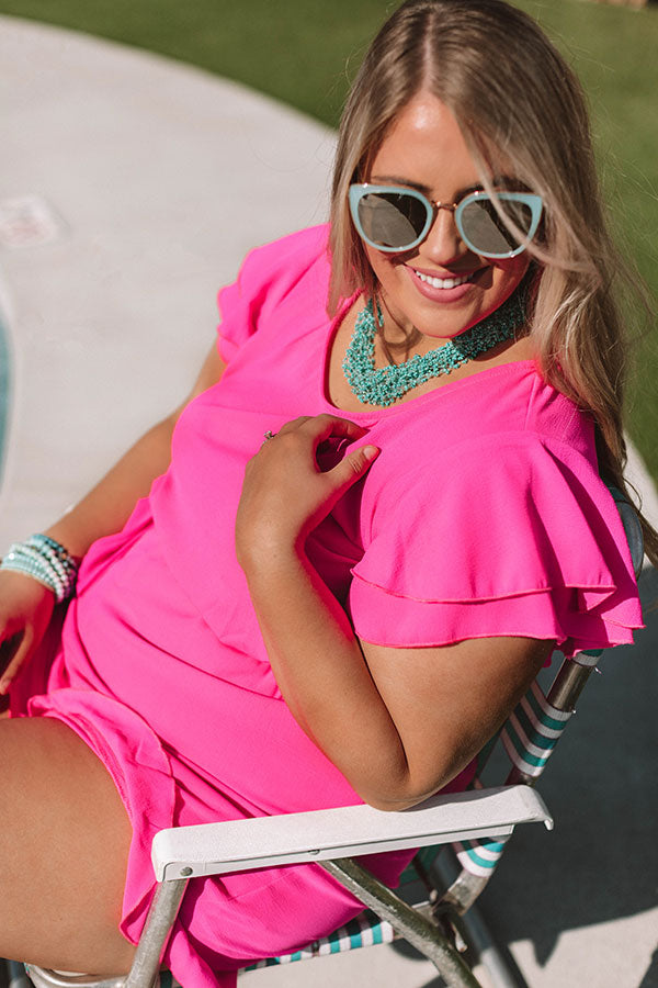 Perks of Paradise Romper in Hot Pink