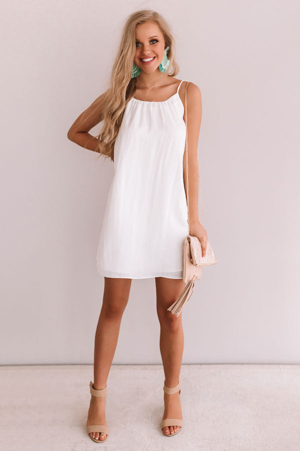 Chicest Of All Satin Dress In White