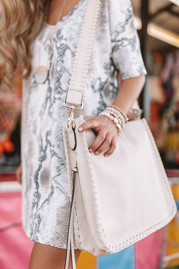 Vegas Weekend Faux Leather Crossbody In Stone