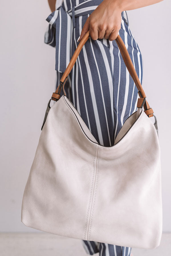 Addicted To You Faux Leather Tote In Birch