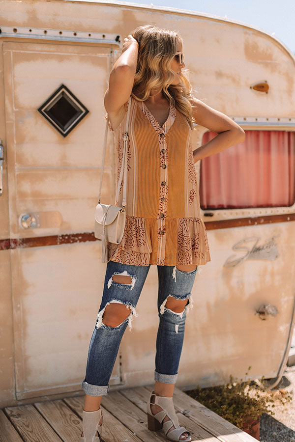 Golden Dreams Button Down Tunic Dress