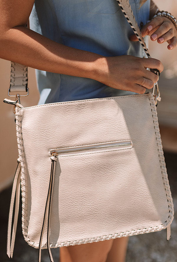 Vegas Weekend Faux Leather Crossbody In Iced Latte