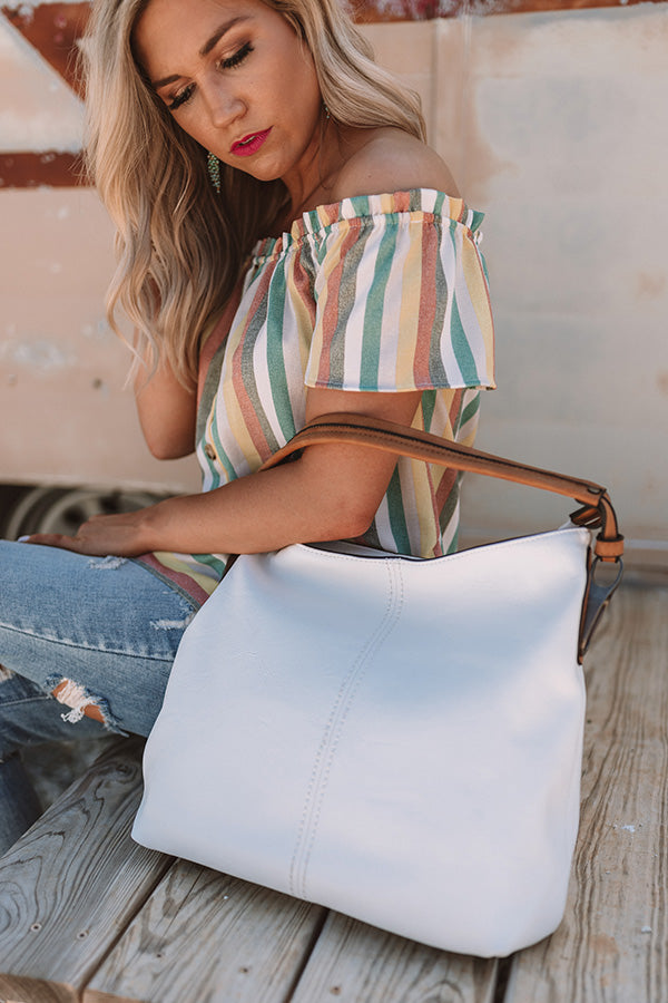 Addicted To You Faux Leather Tote In White