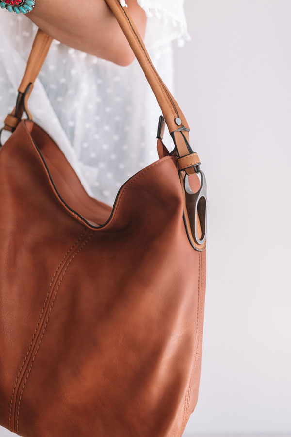 Addicted To You Faux Leather Tote In Brown