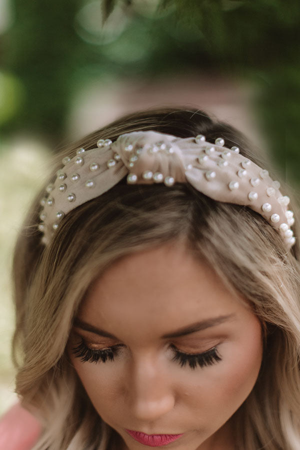 Sweet Pearl Velvet Headband In Champagne