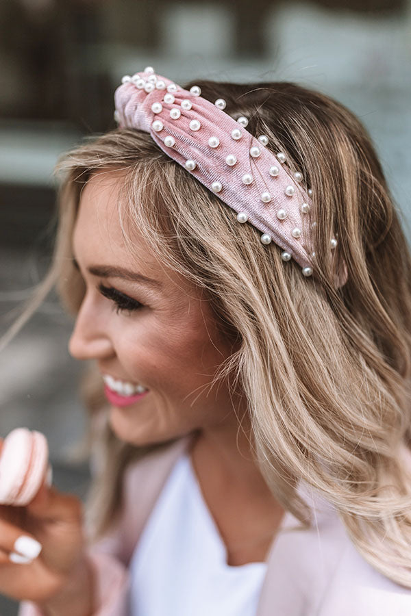 Sweet Pearl Velvet Headband In Blush