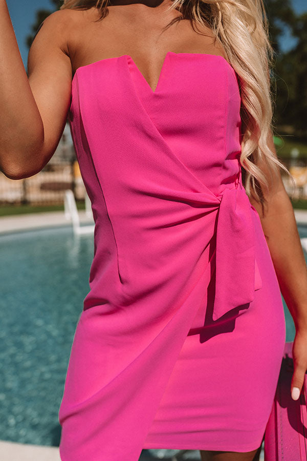 Who's That Girl Front Tie Dress In Hot Pink