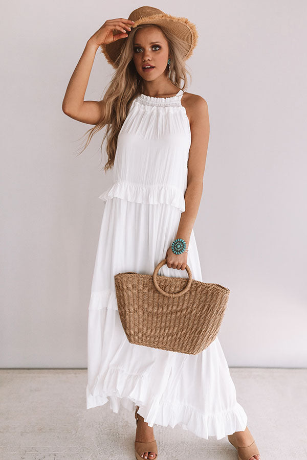 On Holiday Ruffle Maxi in White