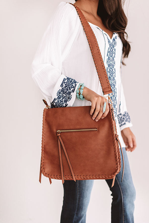 Vegas Weekend Faux Leather Crossbody In Maple