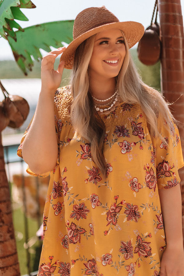 Made For Maui Floral Shift Top In Marigold