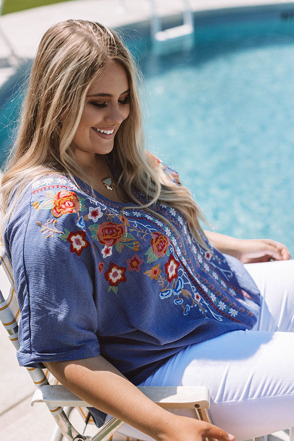 Casual Crush Embroidered Tie Top In Riverside