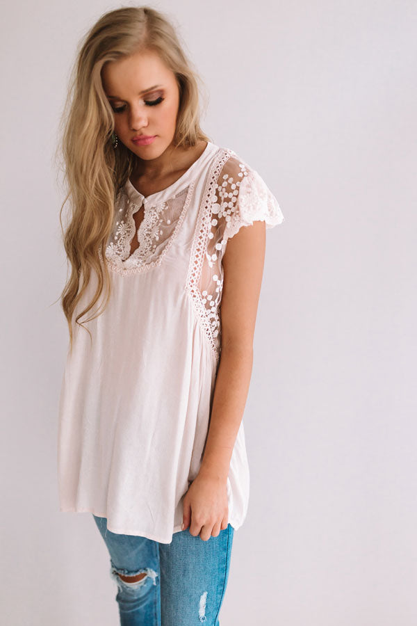 Manhattan High Rise Lace Shift Top in Light Peach