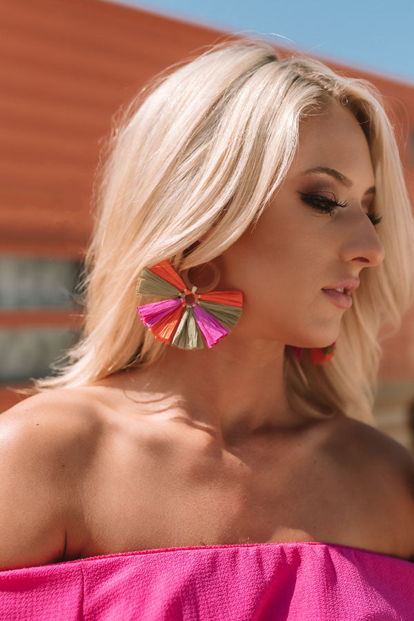 Lounging In Key Largo Fan Earrings In Sage