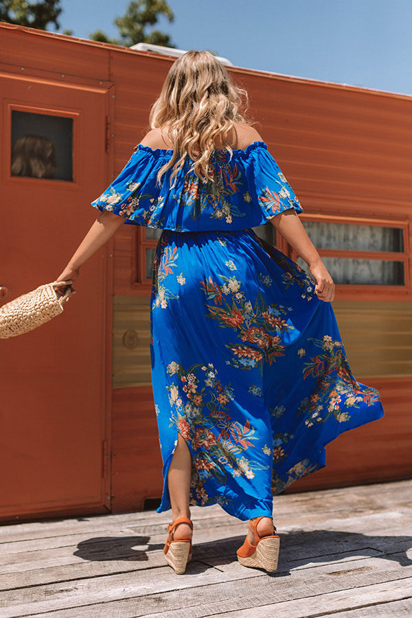 First Class To Cancun Off Shoulder Maxi In Royal Blue