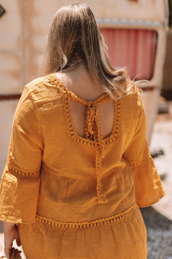 New Grooves Crochet Top In Mustard