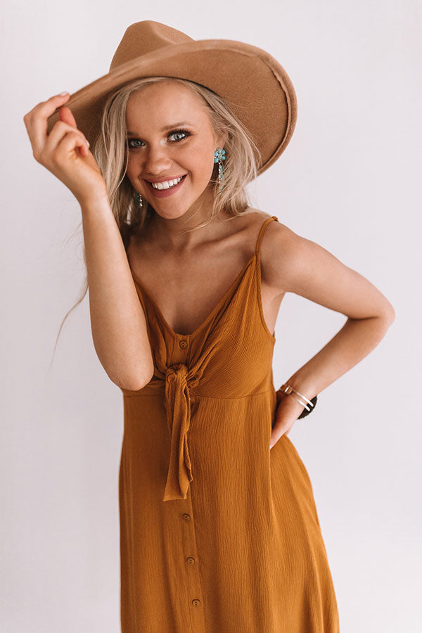 Luau Love Button Up Midi Dress In Mustard