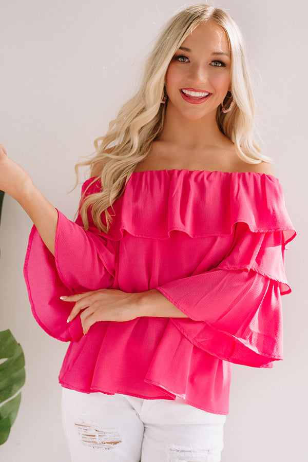 Maui Magic Off Shoulder Top In Pink