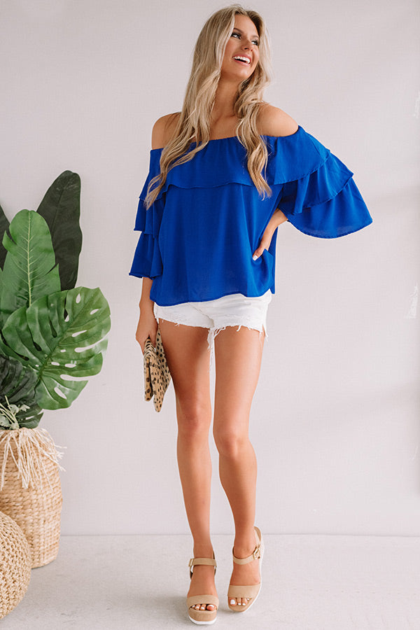 Maui Magic Off Shoulder Top In Royal Blue