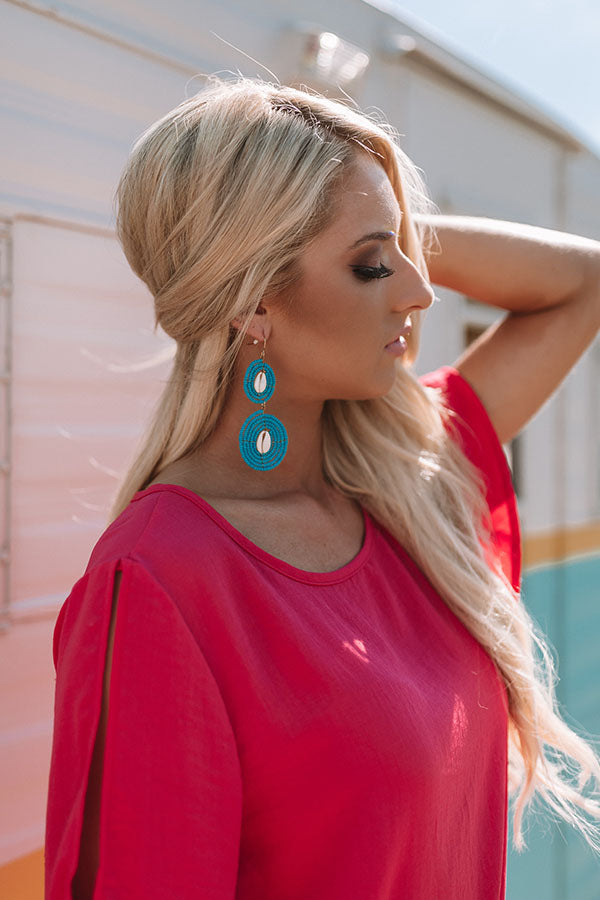 Catch Me By The Shore Beaded Earrings In Ocean Blue
