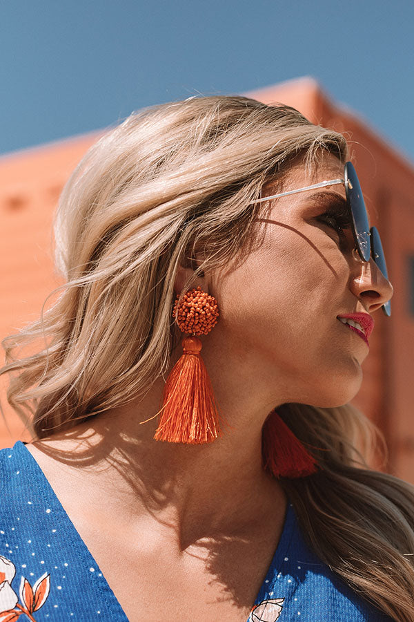 Midnight Kisses Tassel Earrings In Pumpkin