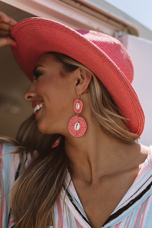 Catch Me By The Shore Beaded Earrings In Pink