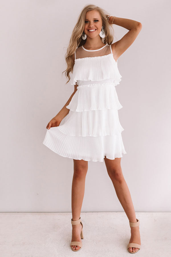Cabernet Soiree Tiered Dress In White