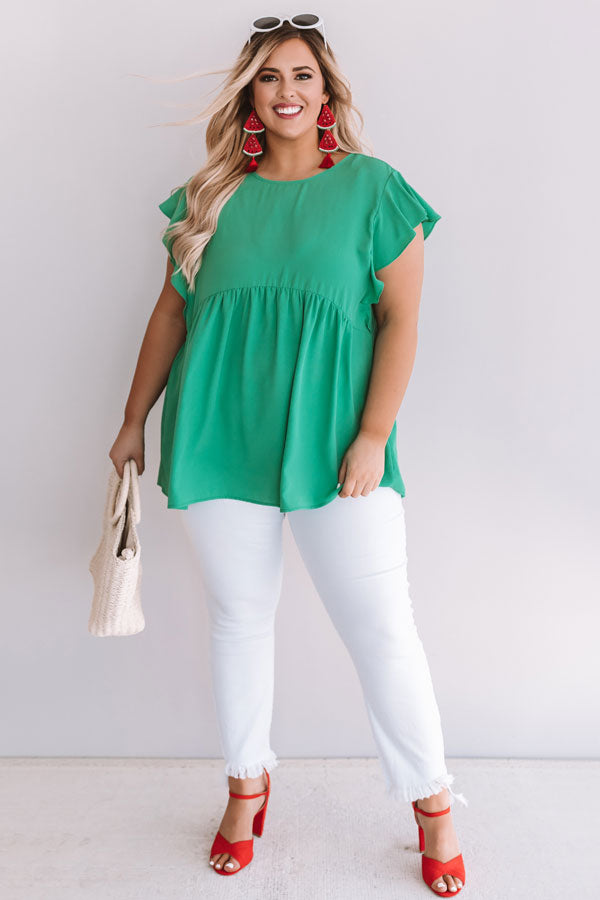 Pinot In Paradise Babydoll Top In Emerald