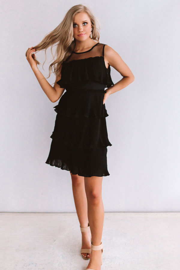 Cabernet Soiree Tiered Dress In Black