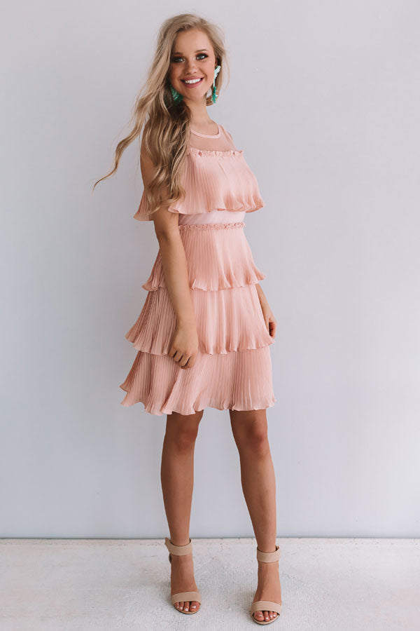 Cabernet Soiree Tiered Dress In Blush