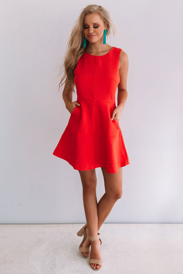 Just Keep Dancing Dress in Tangerine