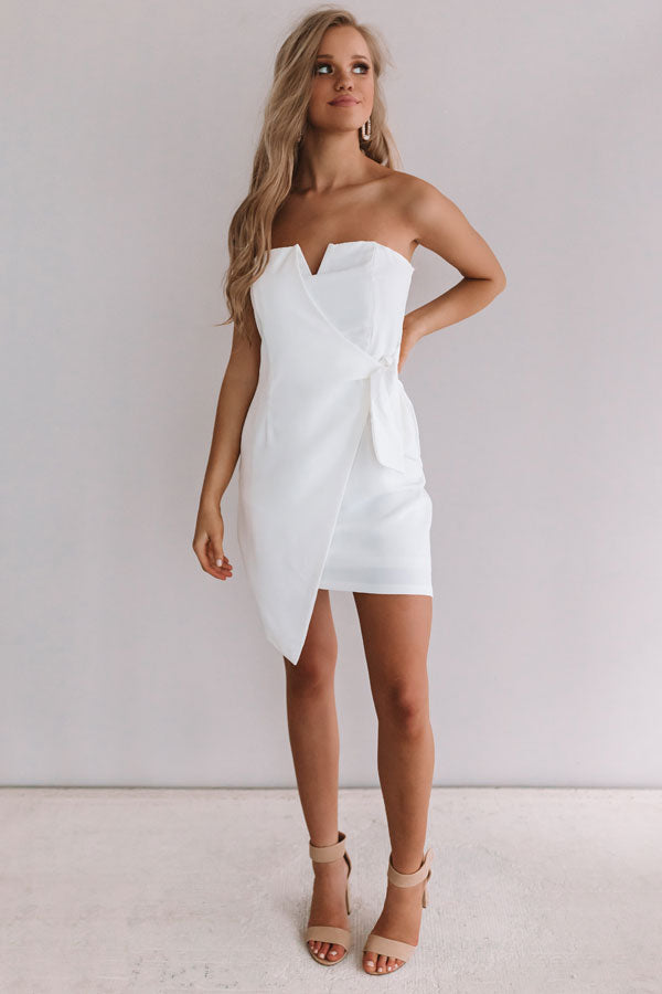 Who's That Girl Front Tie Dress In White