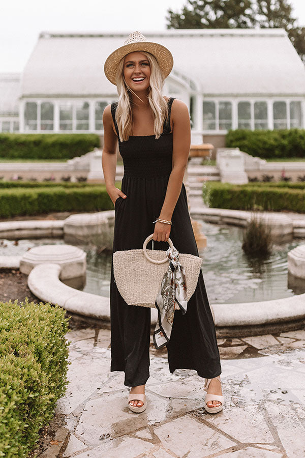 Dreams of Destin Smocked Jumpsuit in Black