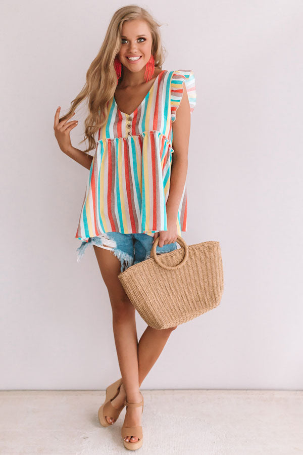 Sunrise Beach Walk Stripe Babydoll Top in Ocean Blue
