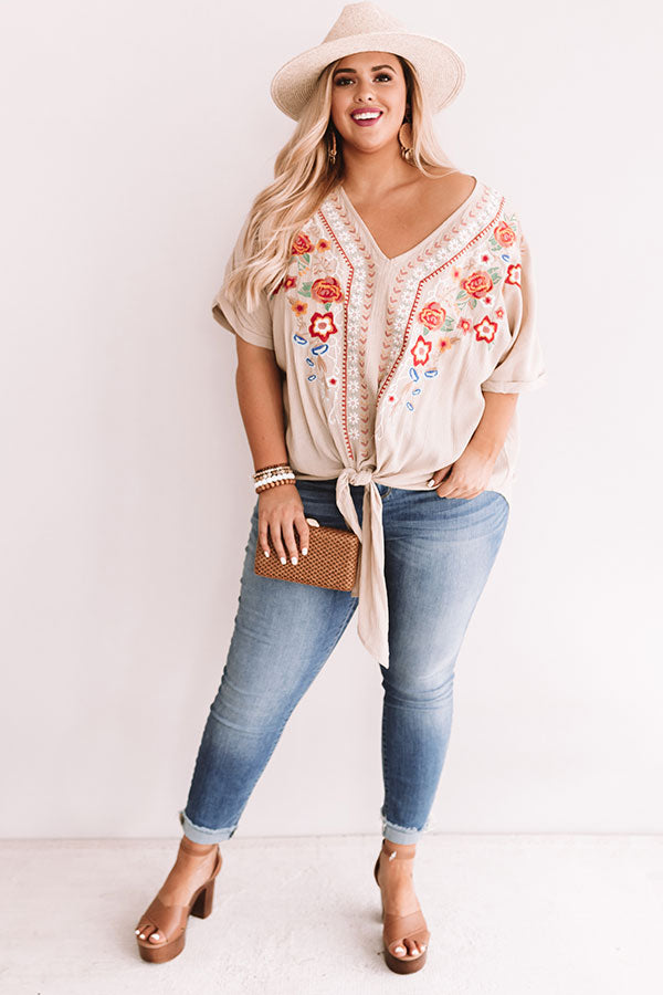 Casual Crush Embroidered Tie Top In Iced Latte