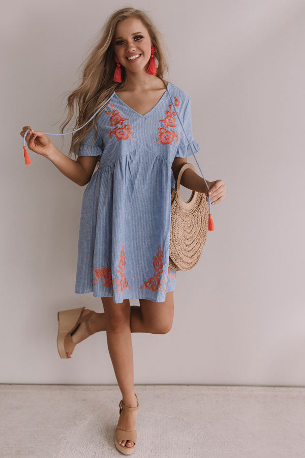 In The Moment Embroidered Babydoll Dress In Airy Blue