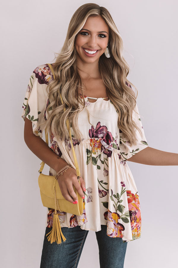 Sunrise Mimosas Babydoll Top In Cream