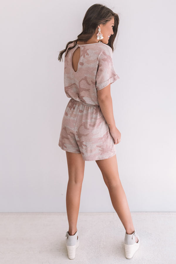 All Caught Up Camo Romper In Blush
