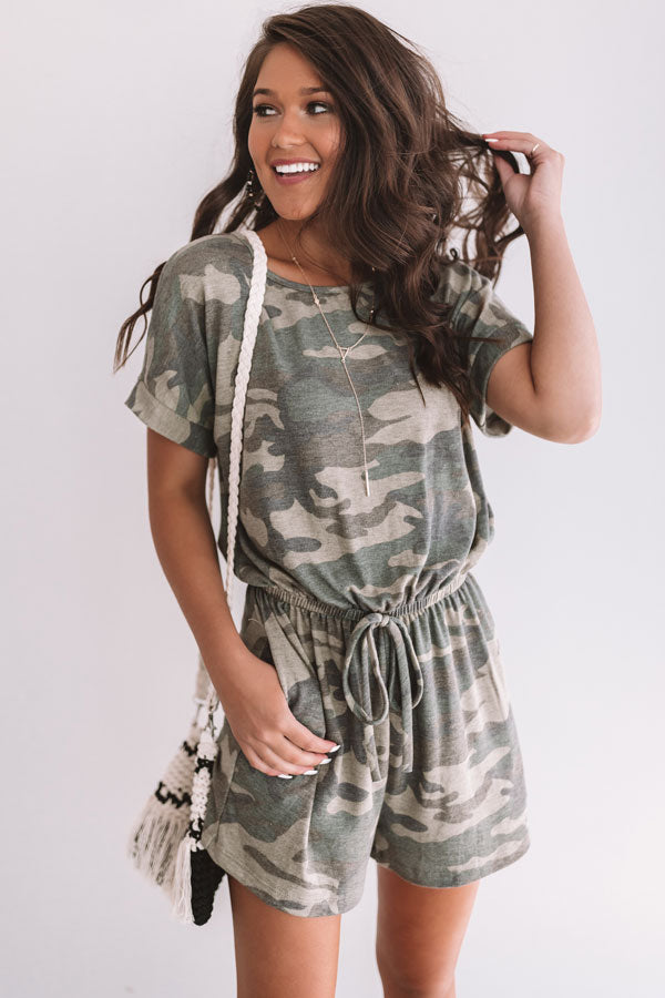 All Caught Up Camo Romper In Green