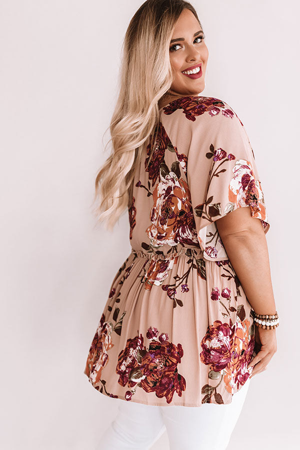 Sunrise Mimosas Babydoll Top In Dusty Blush