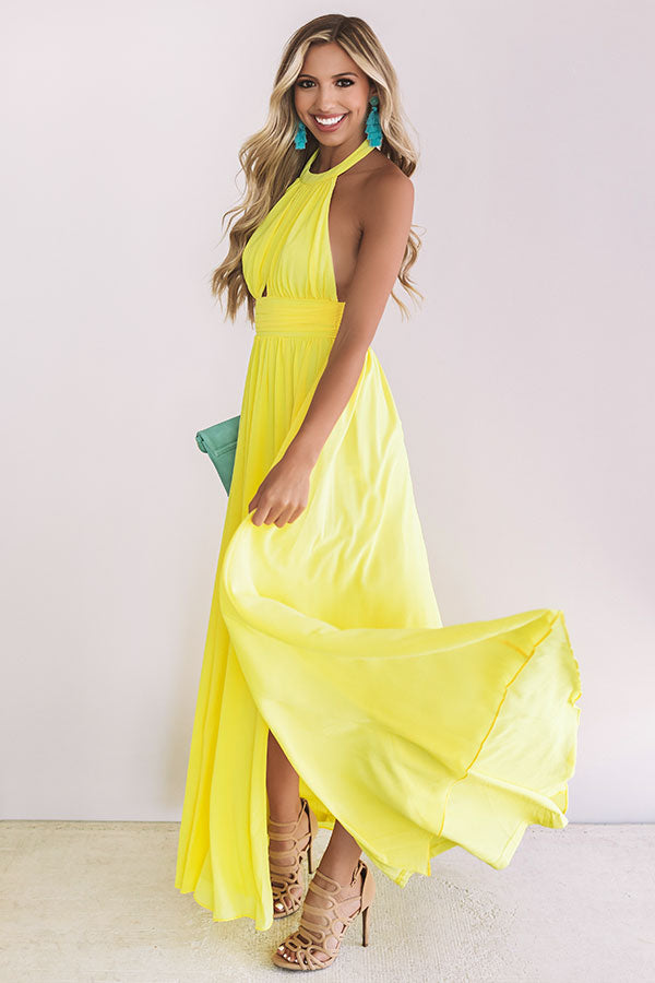 Cabernet Crushing Halter Maxi In Yellow