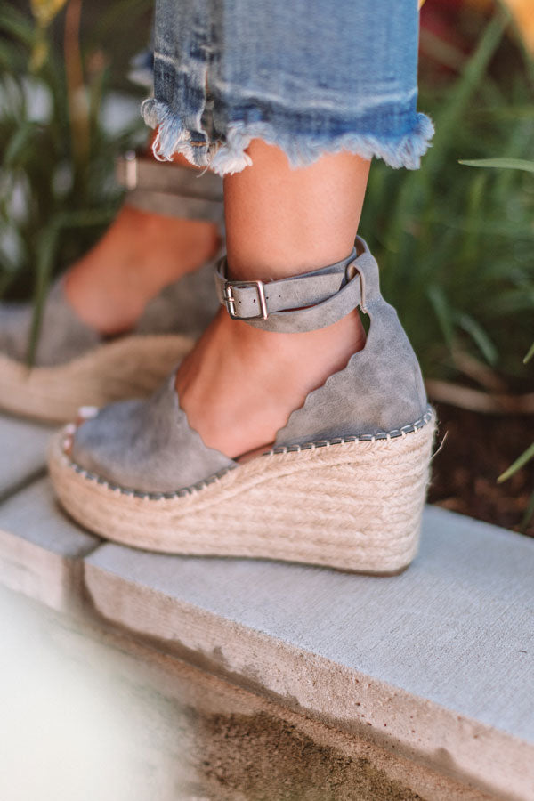 The Beck Espadrille Wedge In Grey