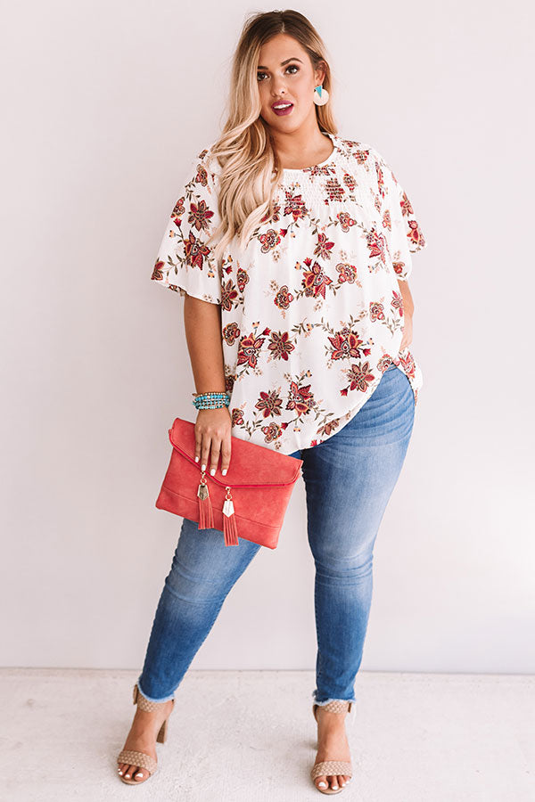 Made For Maui Floral Shift Top In Ivory