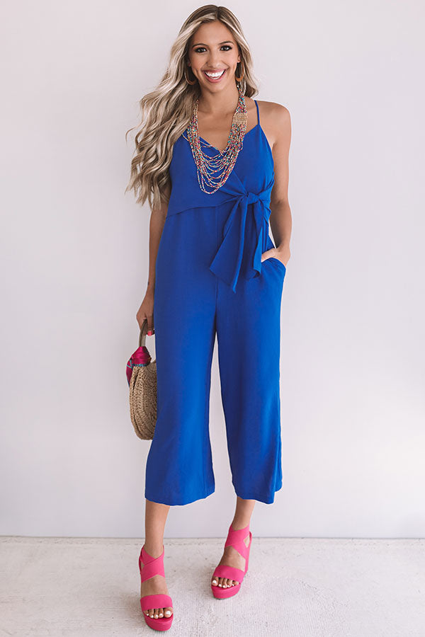 Rooftops And Romance Jumpsuit In Royal Blue