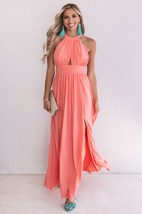 Cabernet Crushing Halter Maxi In Coral