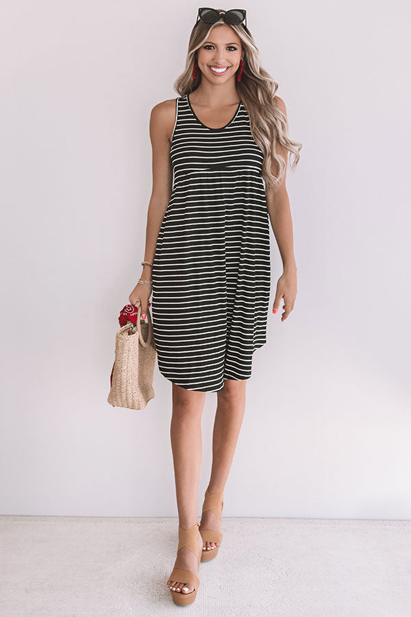 Feeling Pretty Stripe Babydoll Dress In Black