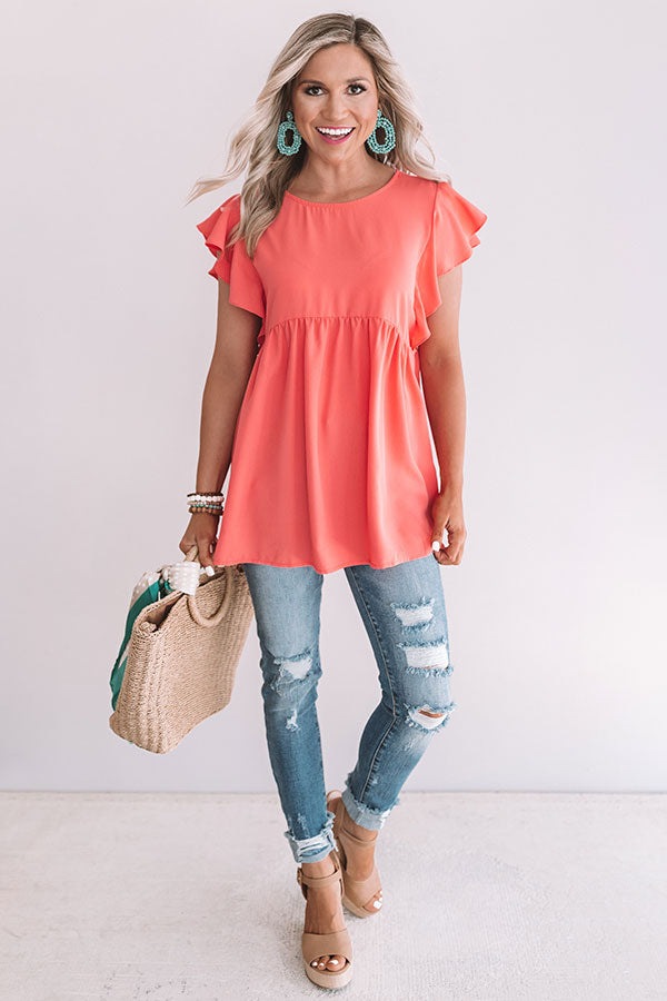 Pinot In Paradise Babydoll Top In Coral