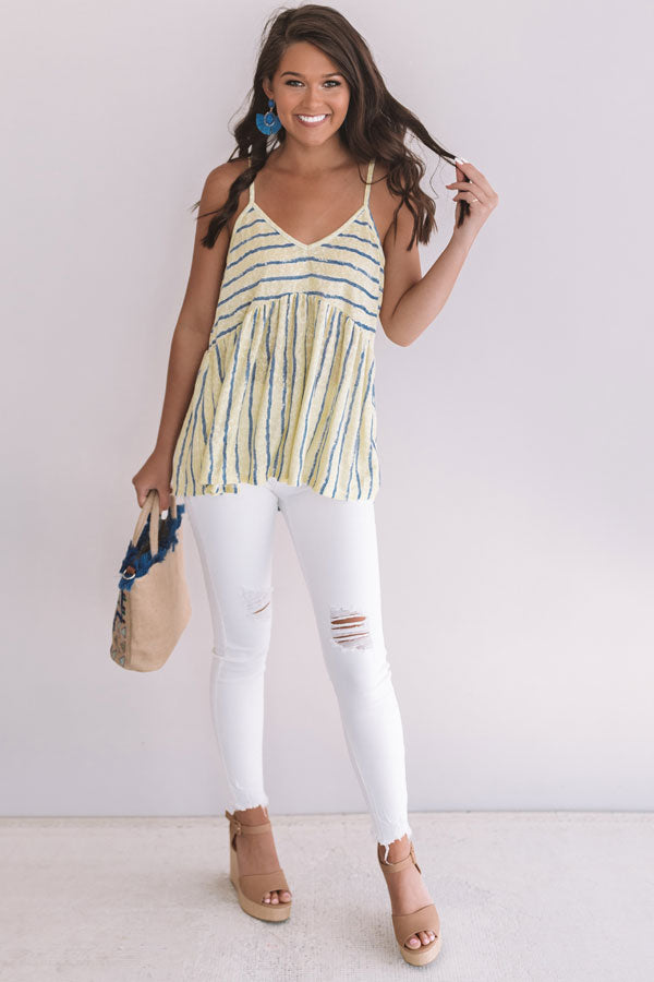 Sandbar Chic Stripe Babydoll Top In Yellow