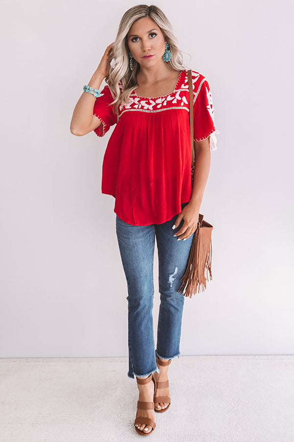 Oh Cabana Boy Embroidered Shift Top In Red